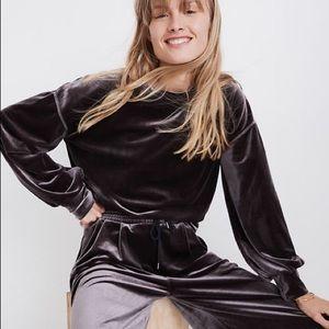 NWT Madewell Velvet Balloon Sleeve Sweatshirt XXS